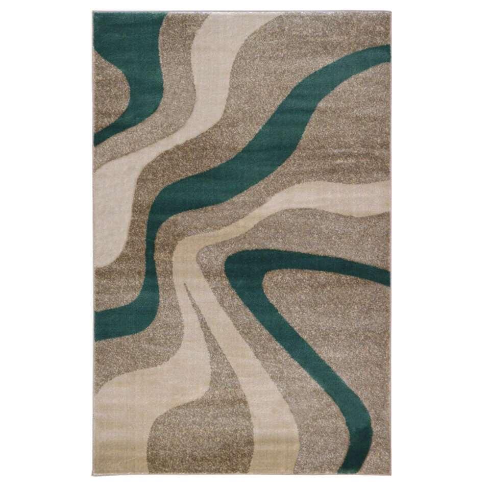 Floorita vloerkleed Swirl - grijs/aqua - 140x200 cm