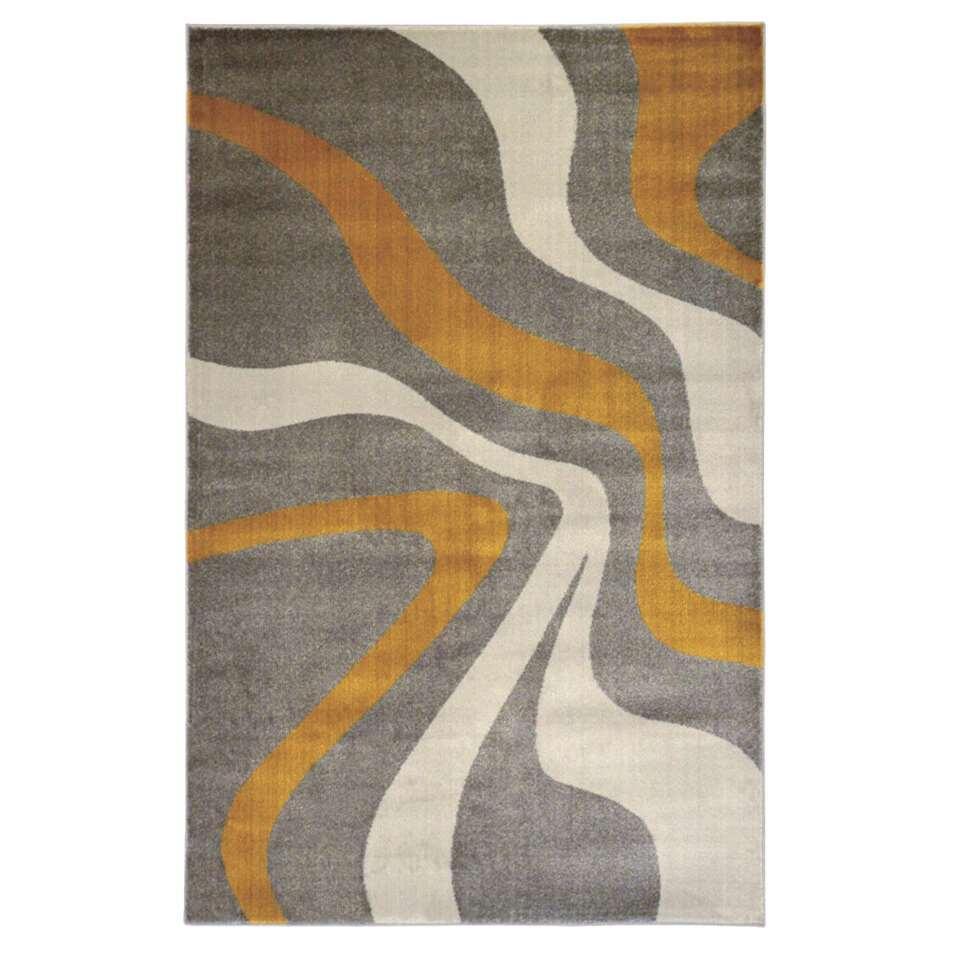 Floorita vloerkleed Swirl - grijs/geel - 140x200 cm