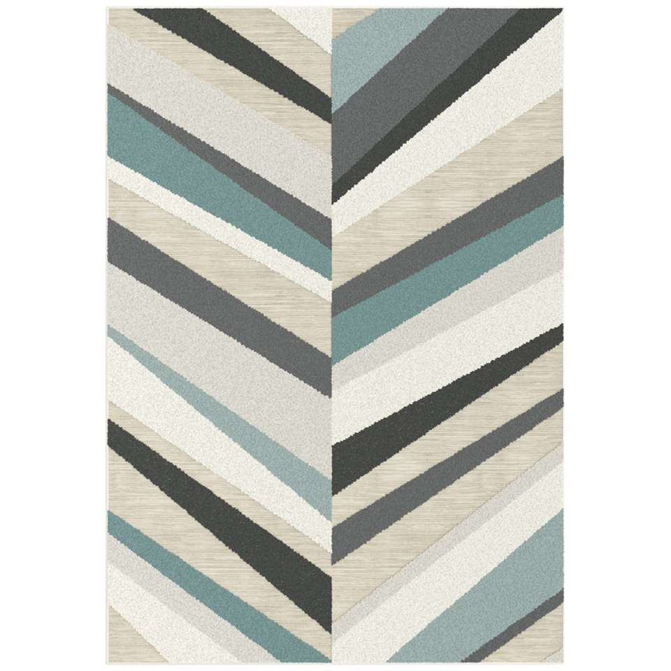 Vloerkleed Arro - blauw/crème - 160x230 cm