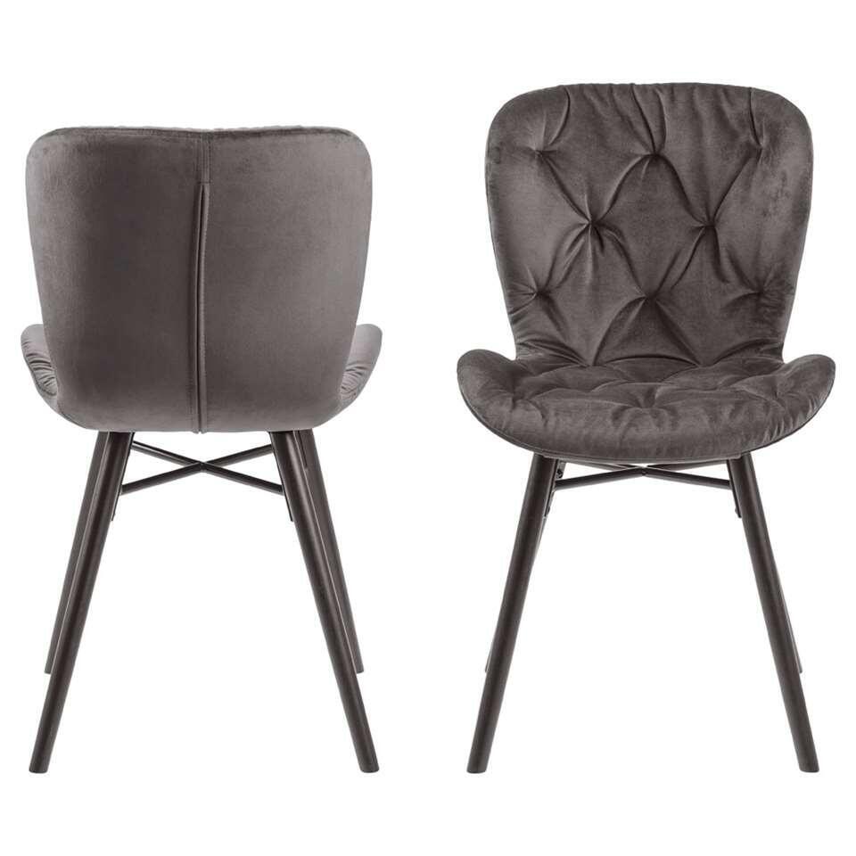 Chaise de salle à manger Helgum - velours capitonné - gris foncé (2 pièces)
