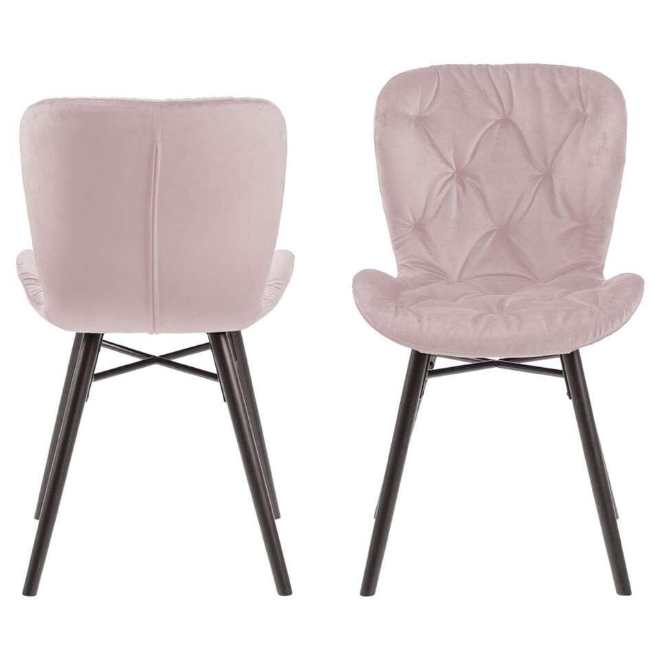 Chaise de salle à manger Helgum - velours capitonné - rose (2 pièces)