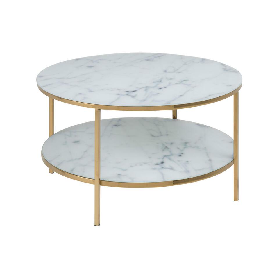 Salontafel Ostana met onderblad - wit/goudkleur - 45x80 cm