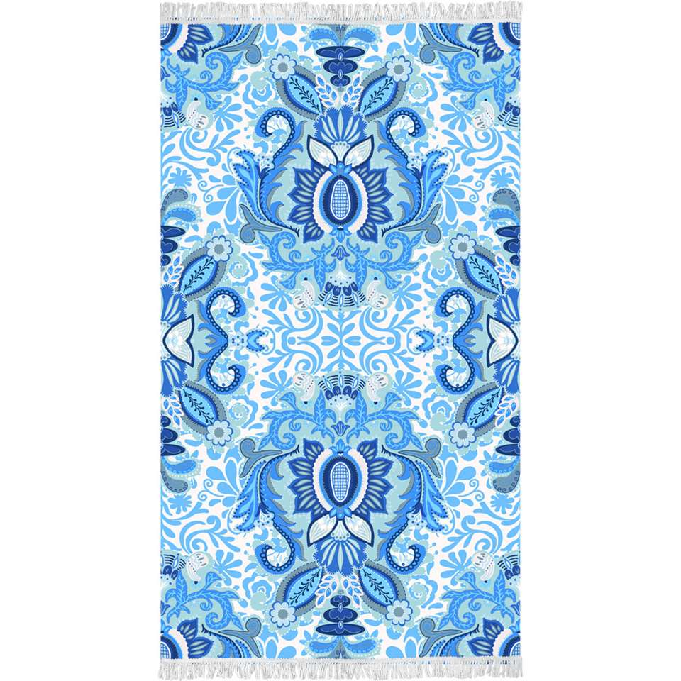 Happiness strandlaken Yogi - blauw - 100x180 cm