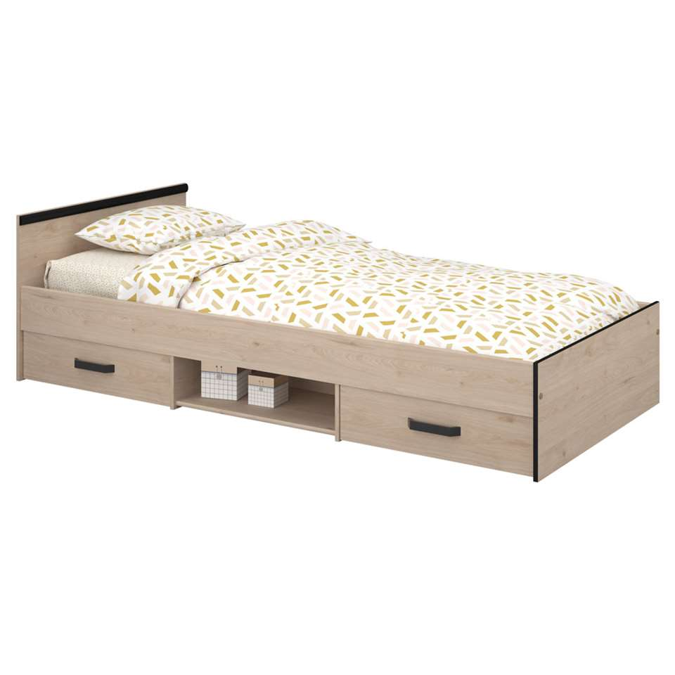 Junior bed Nashville incl. lades - eiken/zwart - 90x200 cm