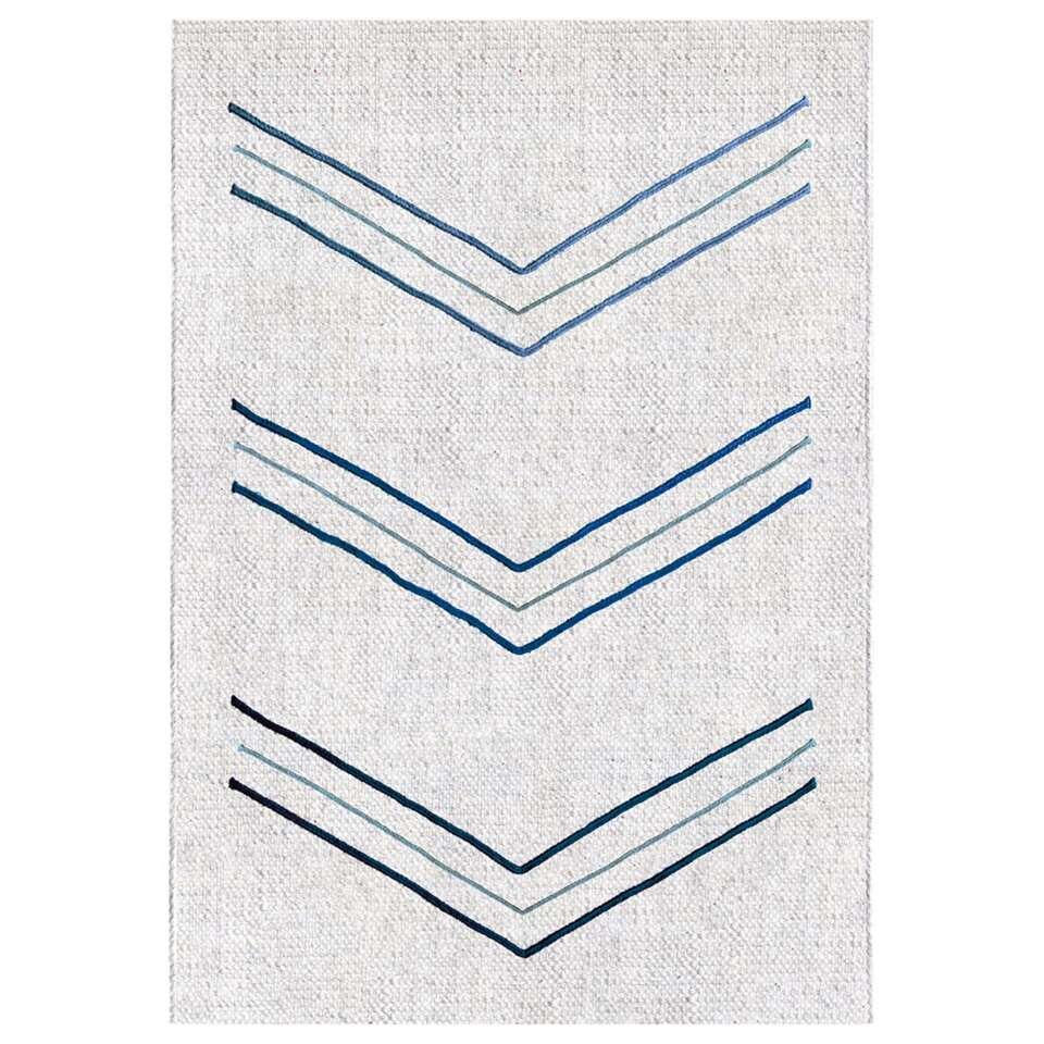 Art For Kids vloerkleed Chevron - wit/blauw - 140x200 cm