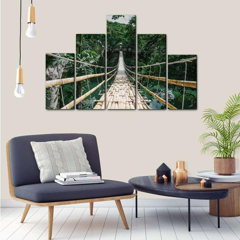 Art for the Home schilderij Jungle - 5 delen - 150x100 cm