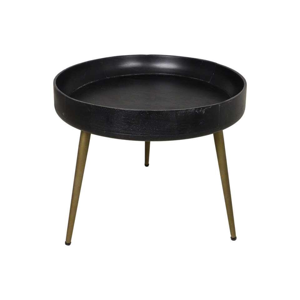 HSM Collection bijzettafel Ventura - zwart/goud - 42x50 cm