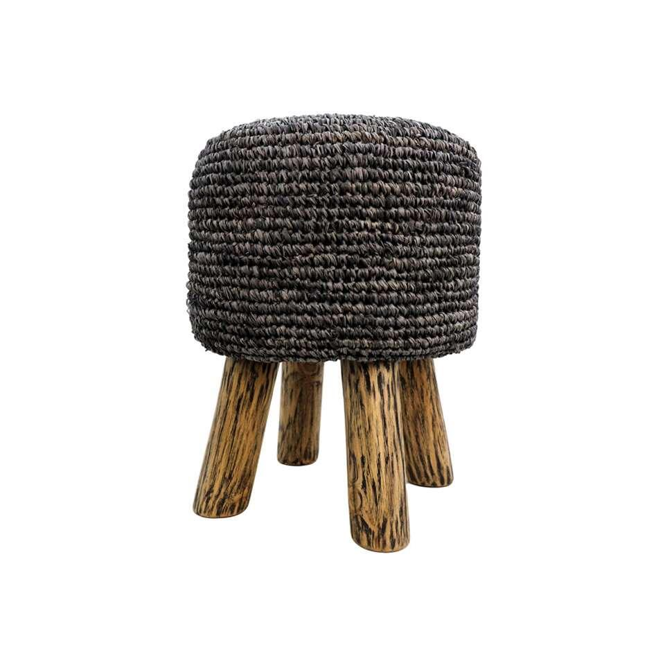 HSM Collection kruk Malibu - raffia zeegras - zwart - 45 cm