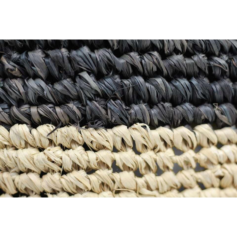 HSM Collection poef Malibu XL - zwart/naturel - 50 cm