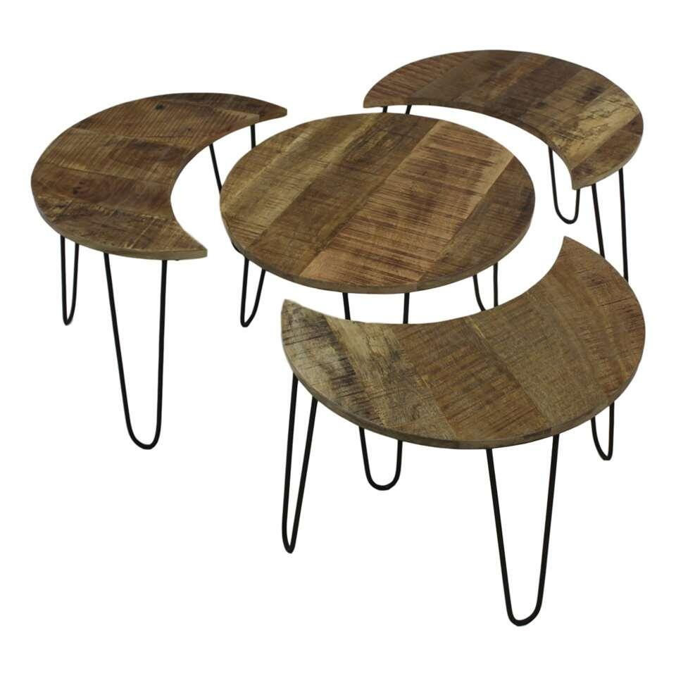 HSM Collection salontafel Eros (4 stuks) - naturel/zwart