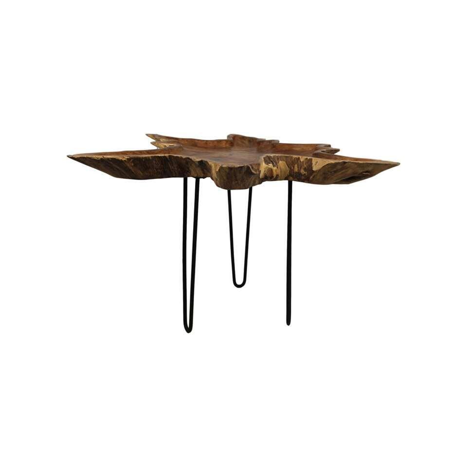 HSM Collection salontafel Orion - naturel/zwart - 57x70-80 cm