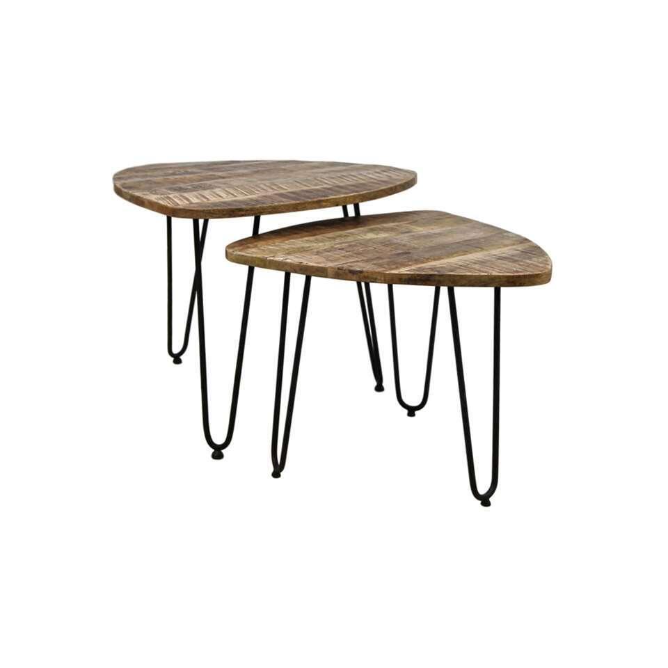 HSM Collection salontafel Dexter (2 stuks) - naturel/zwart