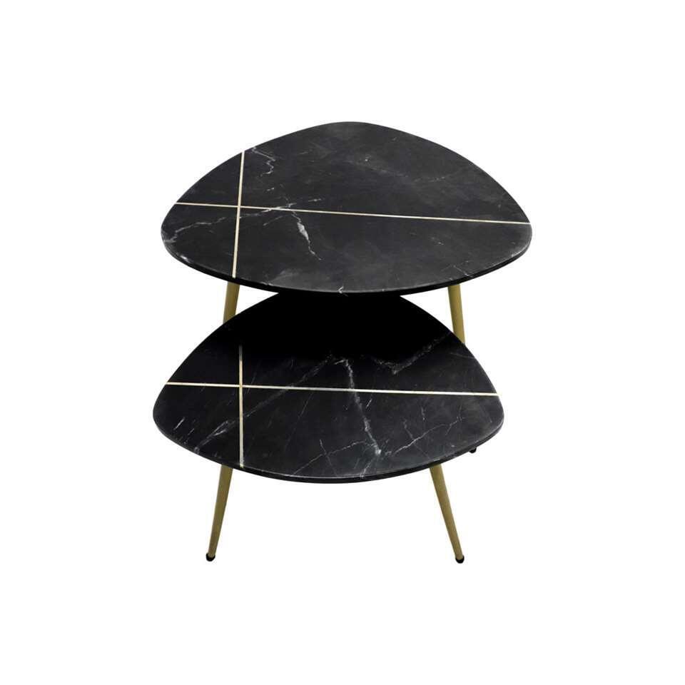 HSM Collection salontafel Lena (2 stuks) - zwart/goud