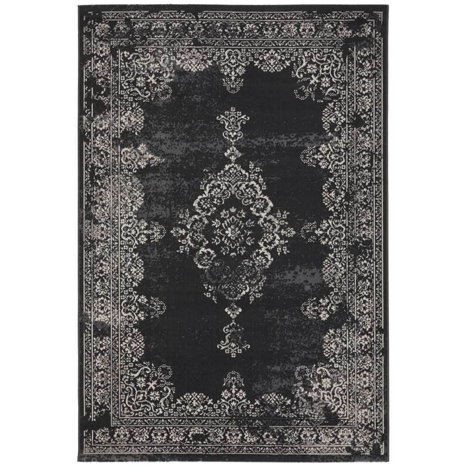 Vloerkleed Vintage - zwart - 80x150 cm