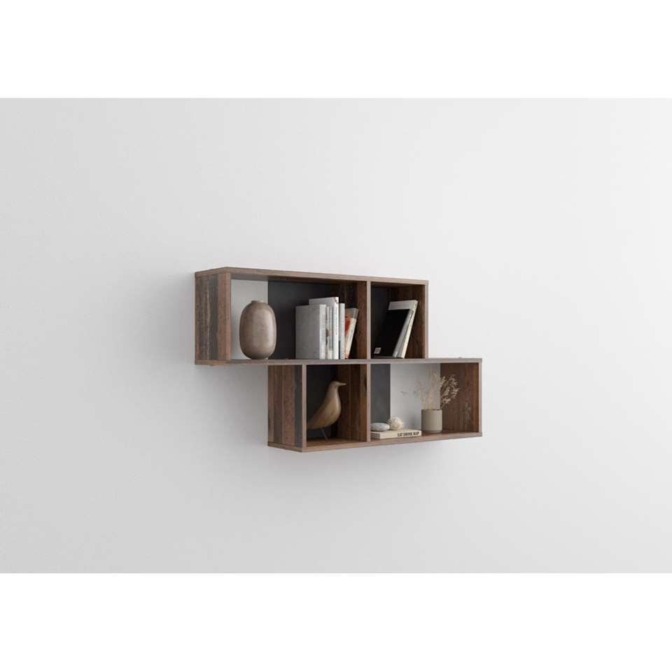 Wandrek Nora - donkerbruin/grijs - 53x100x19,5 cm