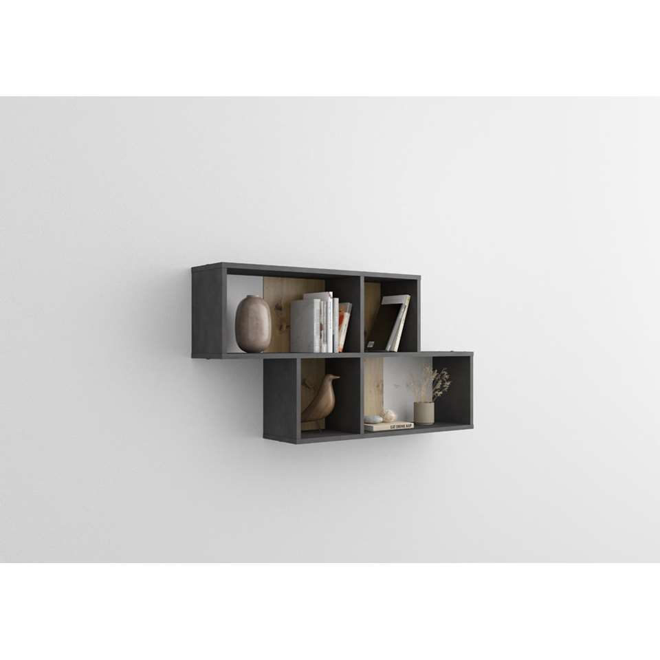 Wandrek Nora - grijs/eiken - 53x100x19,5 cm