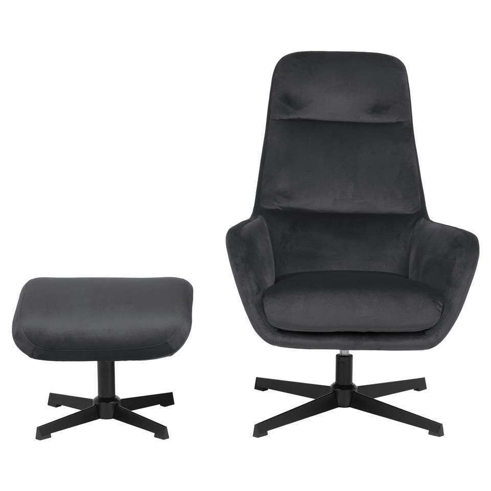 Relaxfauteuil Rafina - stof - donkergrijs