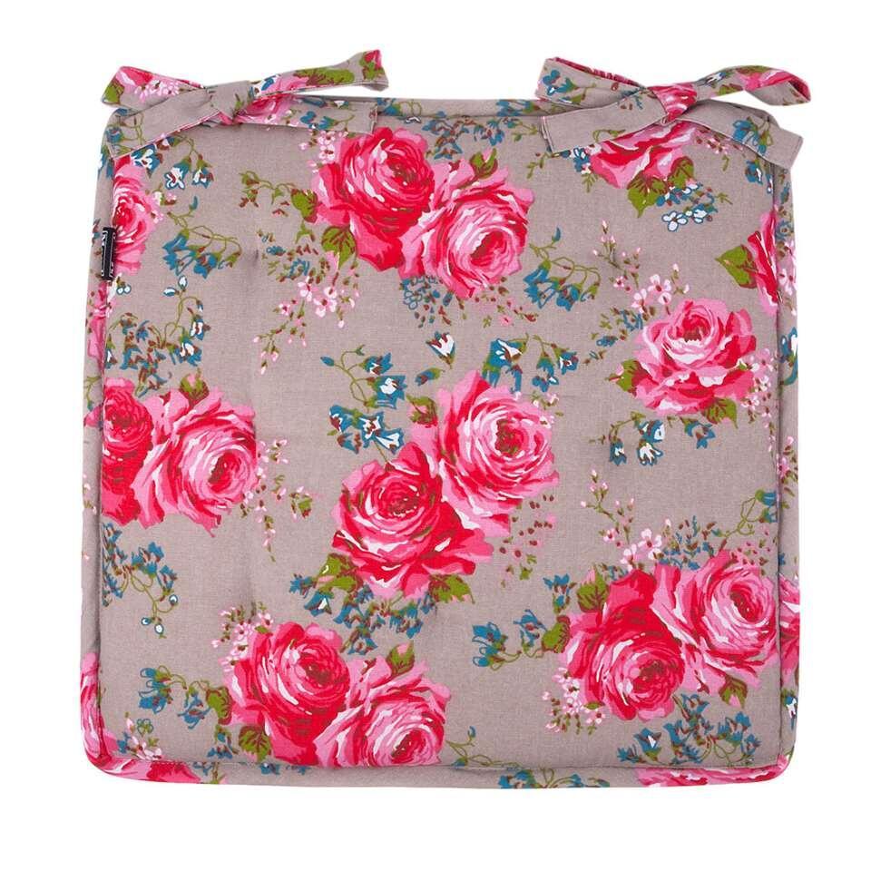 Zitkussen Rosemary - kiezel/roze - 40x40 cm
