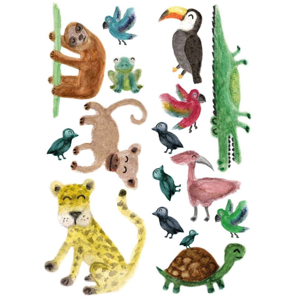Art for the Home muursticker Jungledieren 2x - multikleur - 25x75 cm