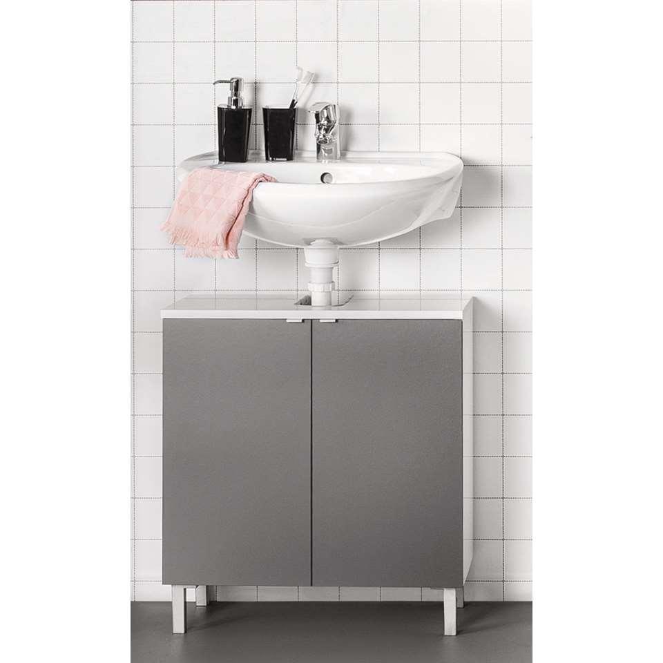 Wastafelkast Milaan - grijs/wit - 64x60x21 cm - Leen Bakker