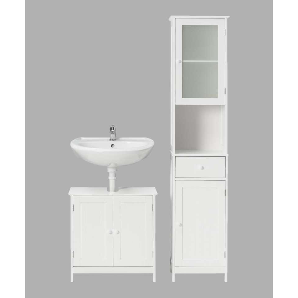 Wastafelkast met badkamerkast Stockholm - wit - Leen Bakker