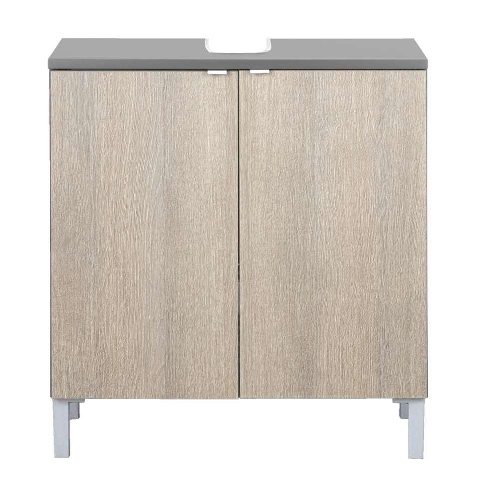 Wastafelkast Milaan - grijs/donker eikenkleur - 65x60x34 cm - Leen Bakker