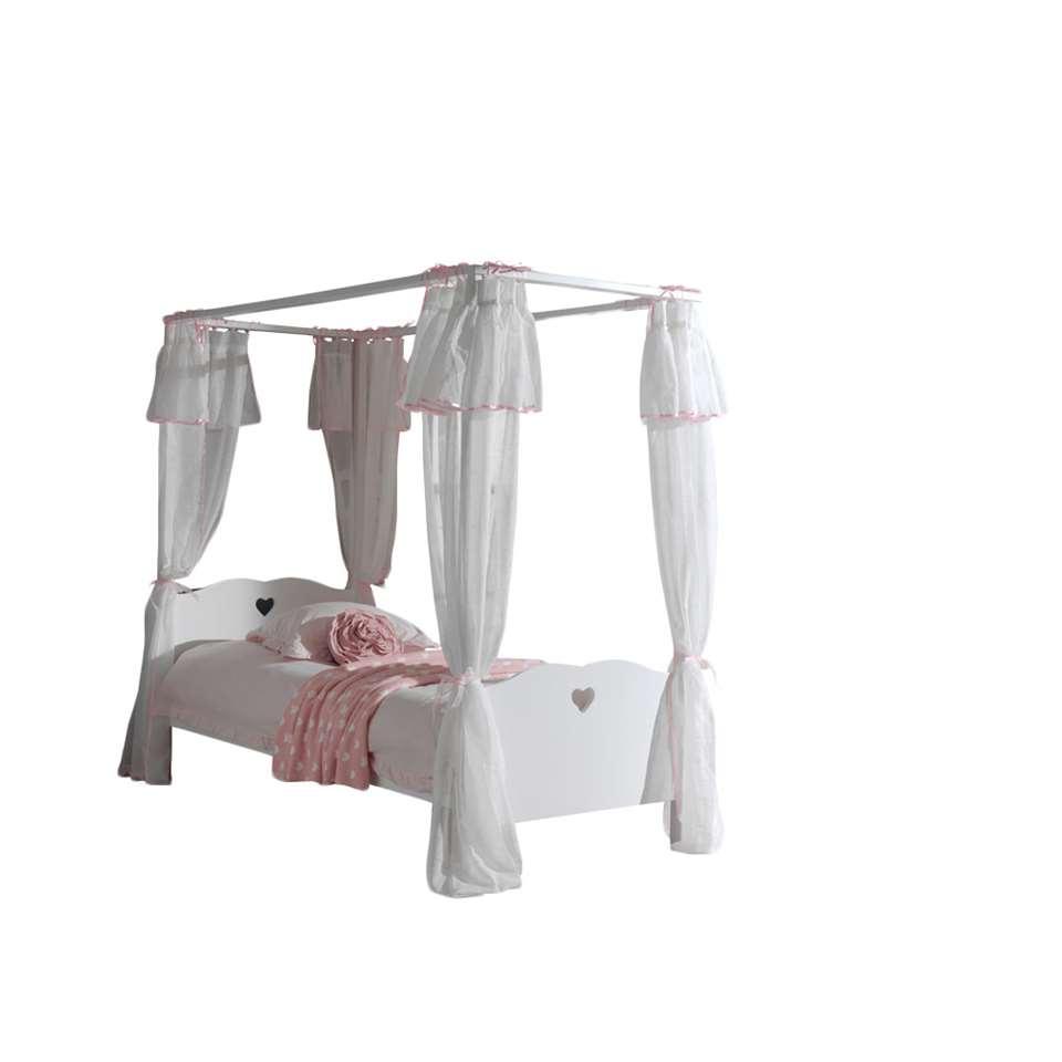 Vipack hemelbed Amori met textiel - wit - 90x200 cm - Leen Bakker