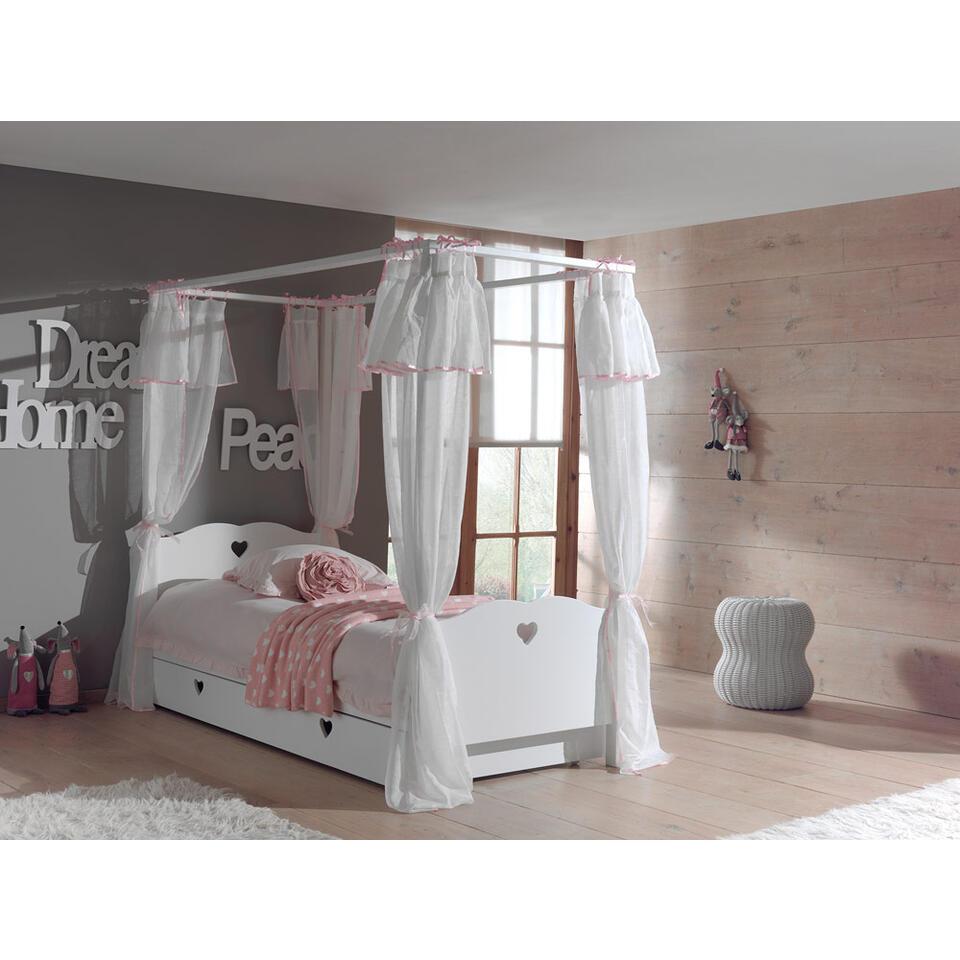 Vipack hemelbed Amori met textiel en rolbed/opberglade – wit – Leen Bakker
