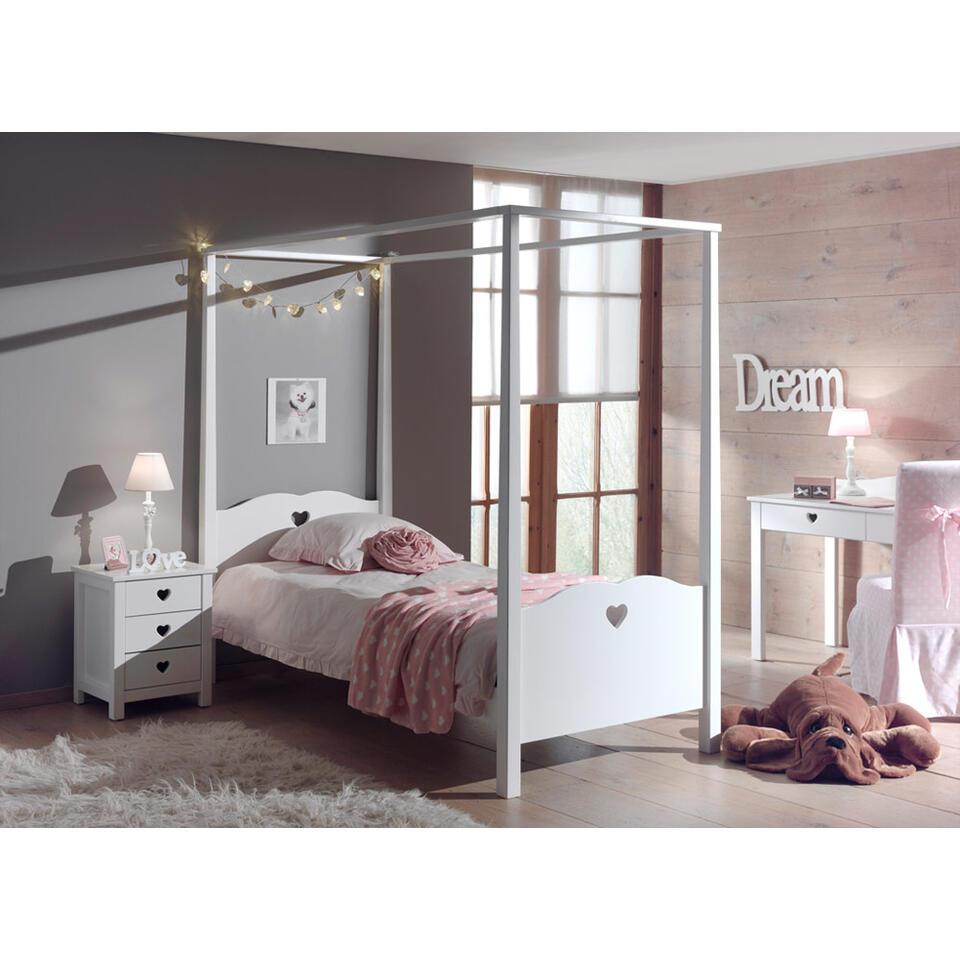 Vipack hemelbed Amori met nachtkastje – wit – Leen Bakker