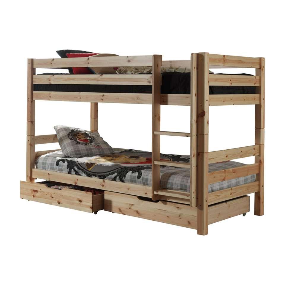 Vipack stapelbed (140 cm) Pino met opberglades - grenenhout - Leen Bakker