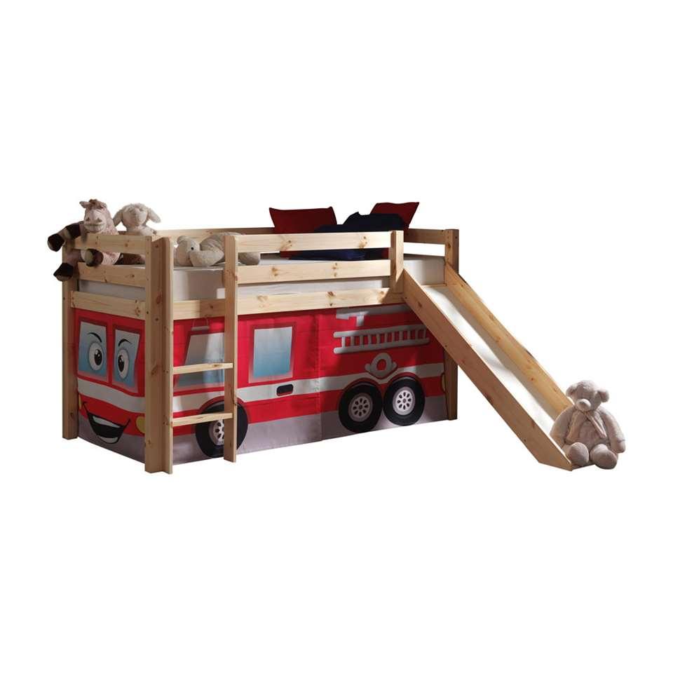 Vipack halfhoogslaper Pino met glijbaan en brandweerset – grenenhout – Leen Bakker