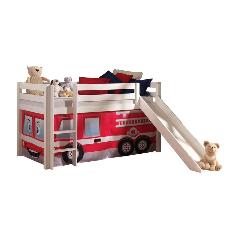 Vipack halfhoogslaper Pino met glijbaan en brandweerset – wit – Leen Bakker