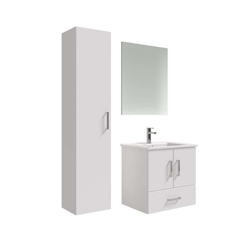 90100745 badmeubelset Omni met kolomkast  hoogglans wit  65 cm