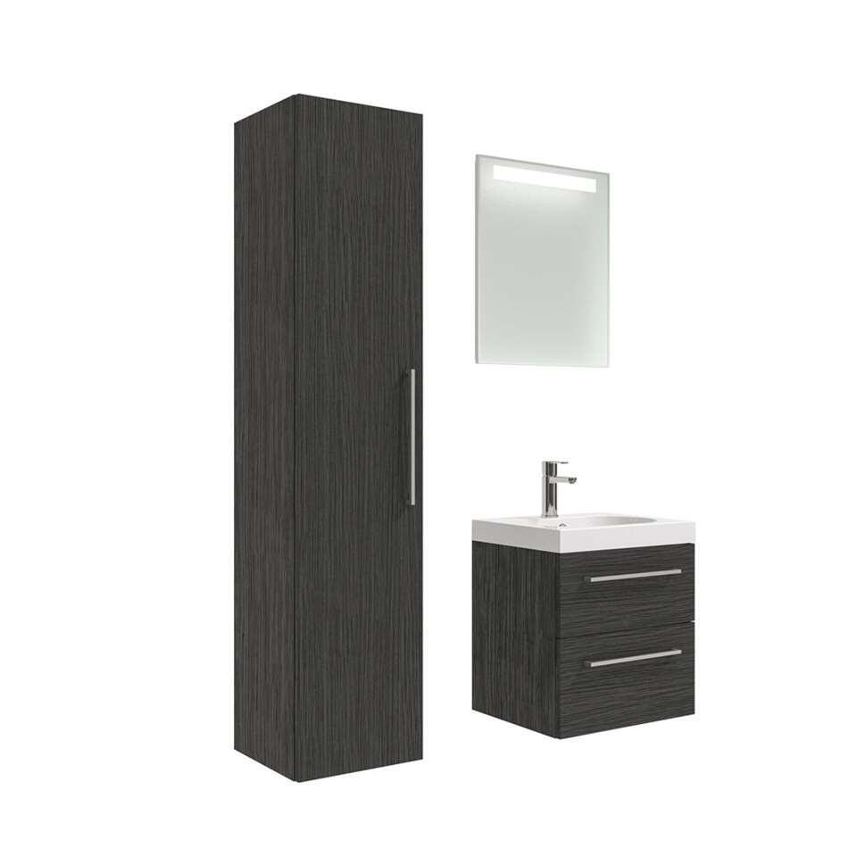 90100753 badmeubelset Luca met kolomkast  zwart  50 cm