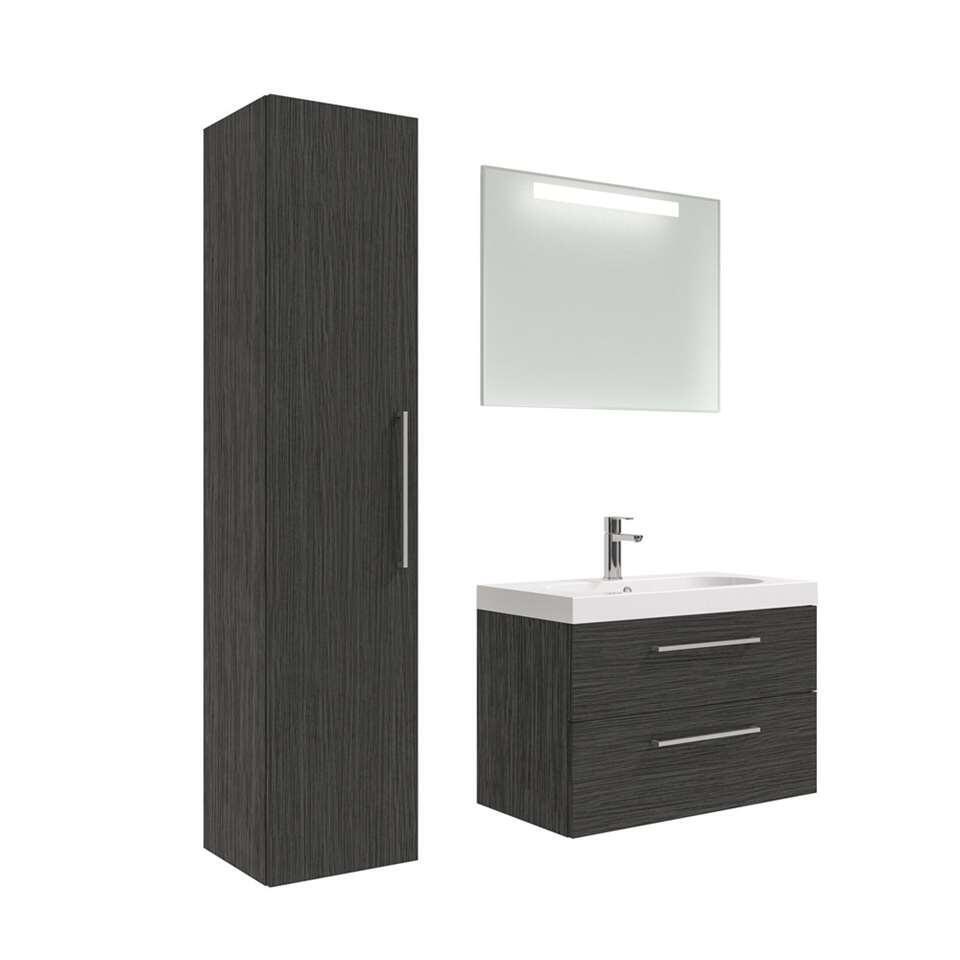 90100759 badmeubelset Luca met kolomkast  zwart  80 cm