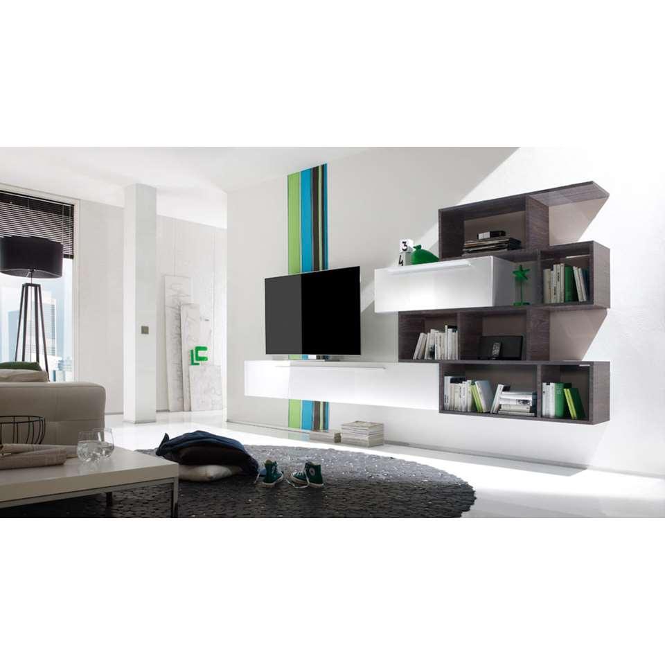 TV-meubel combinatie Mestre 4 - hoogglans wit/wengé - Leen Bakker