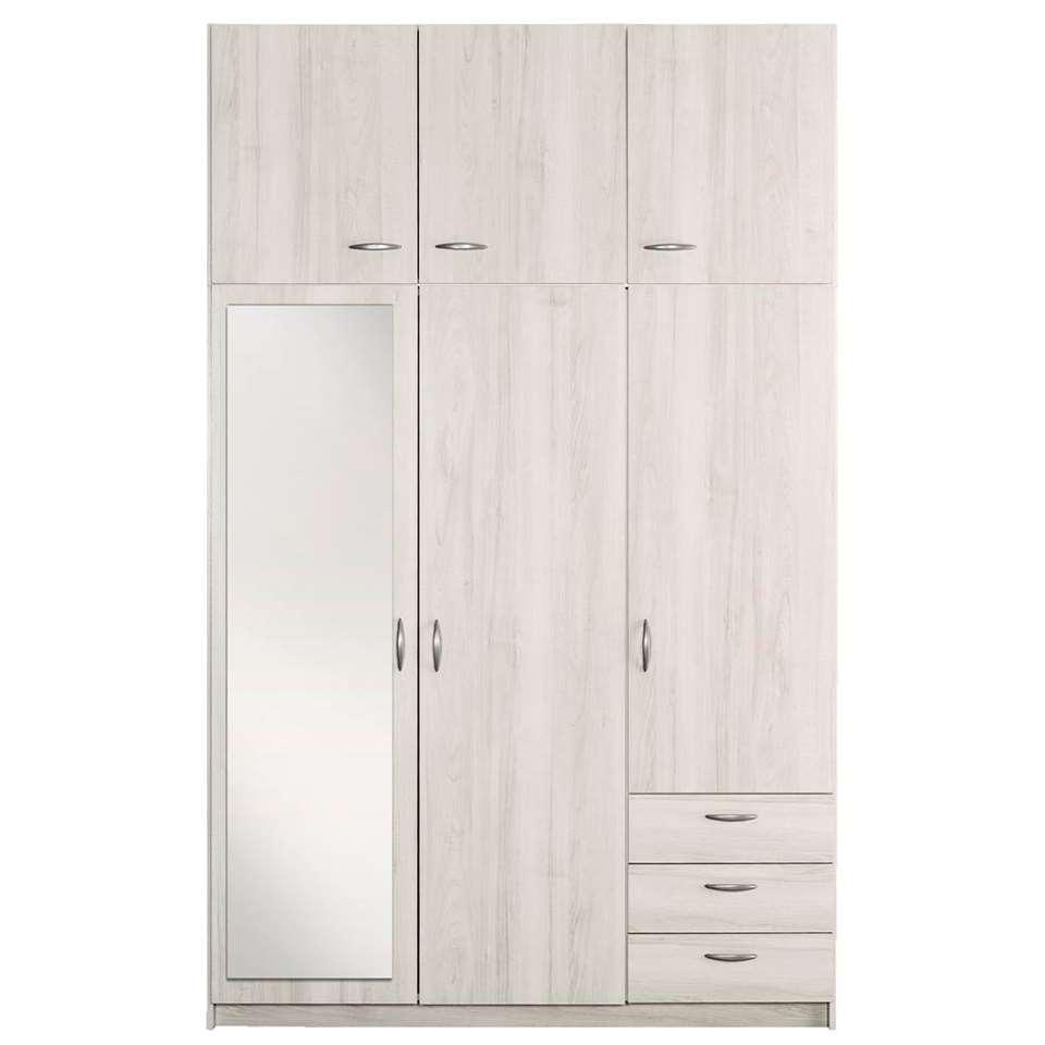 Kledingkast Varia 3-deurs met spiegel en opzetkast - white wash - 231x146x50 cm - Leen Bakker