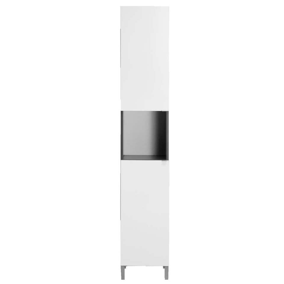 Badkamerkast Milaan 2-deurs – grijs/wit – 182x32x33 cm – Leen Bakker