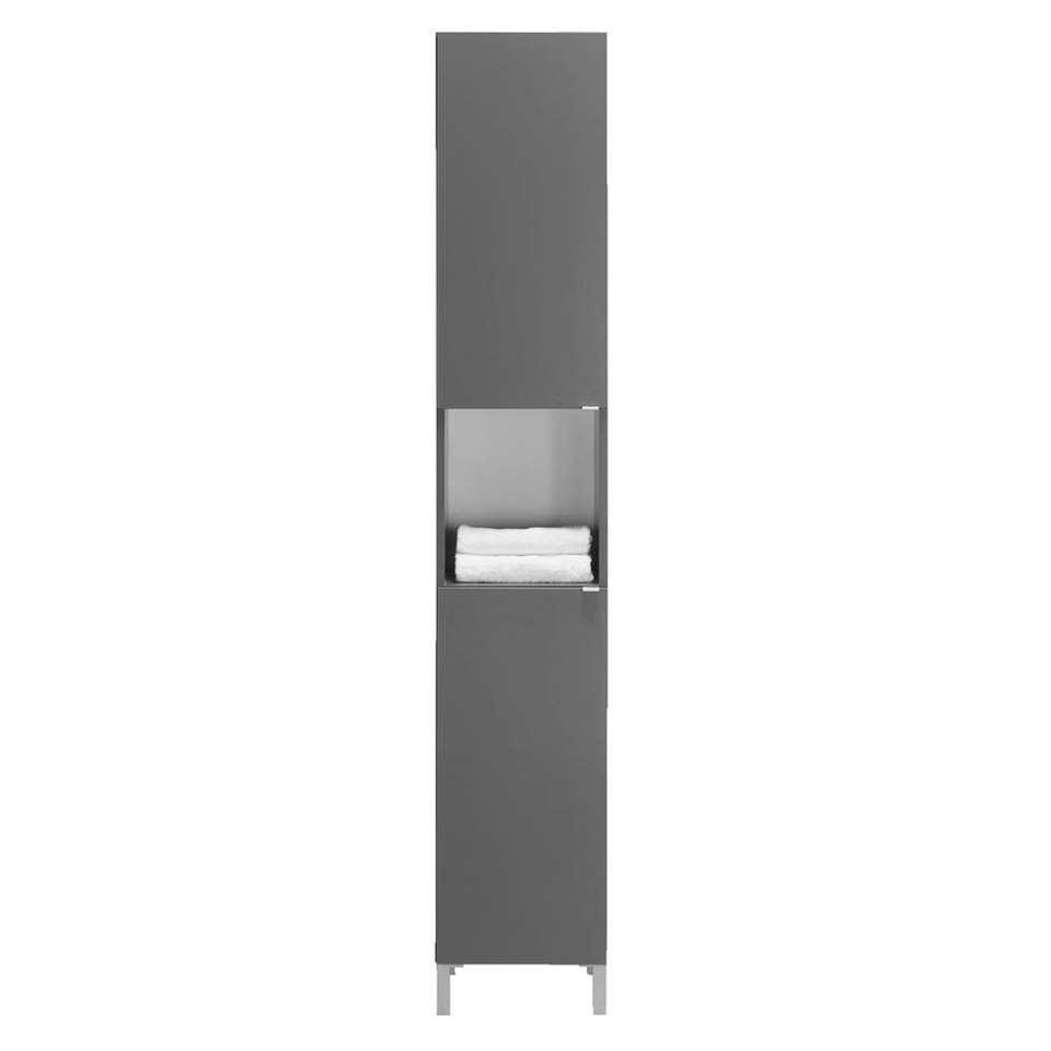Badkamerkast milaan 2 deurs grijs 182x32x33 cm for Hoge badkamerkast