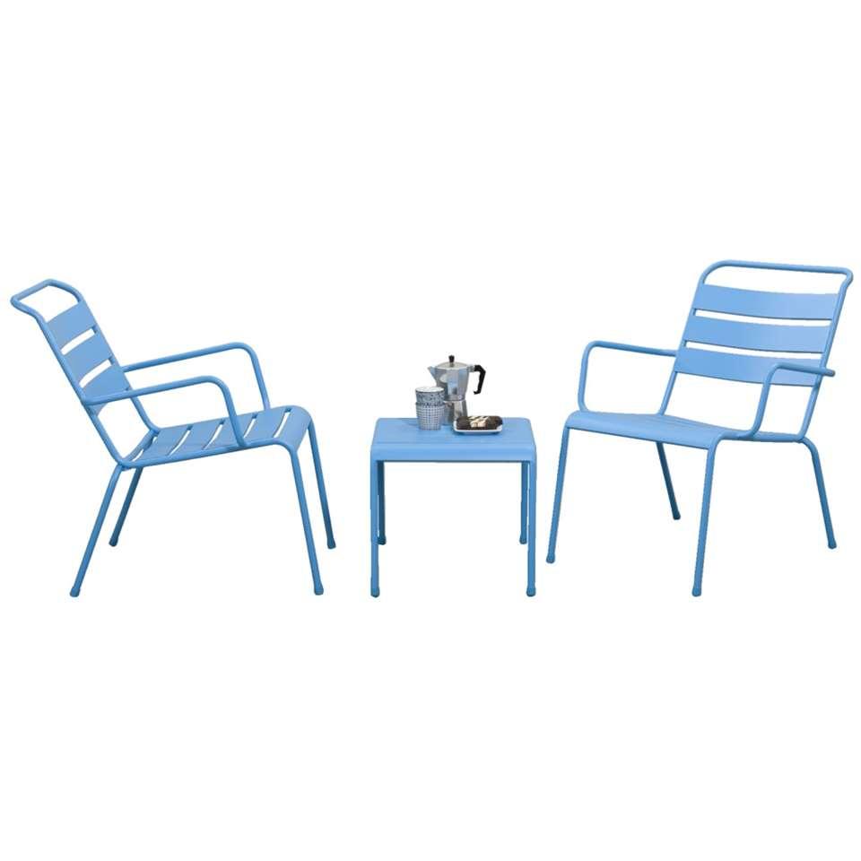 Loungeset Fortaleze - blauw - 3-delig - Leen Bakker