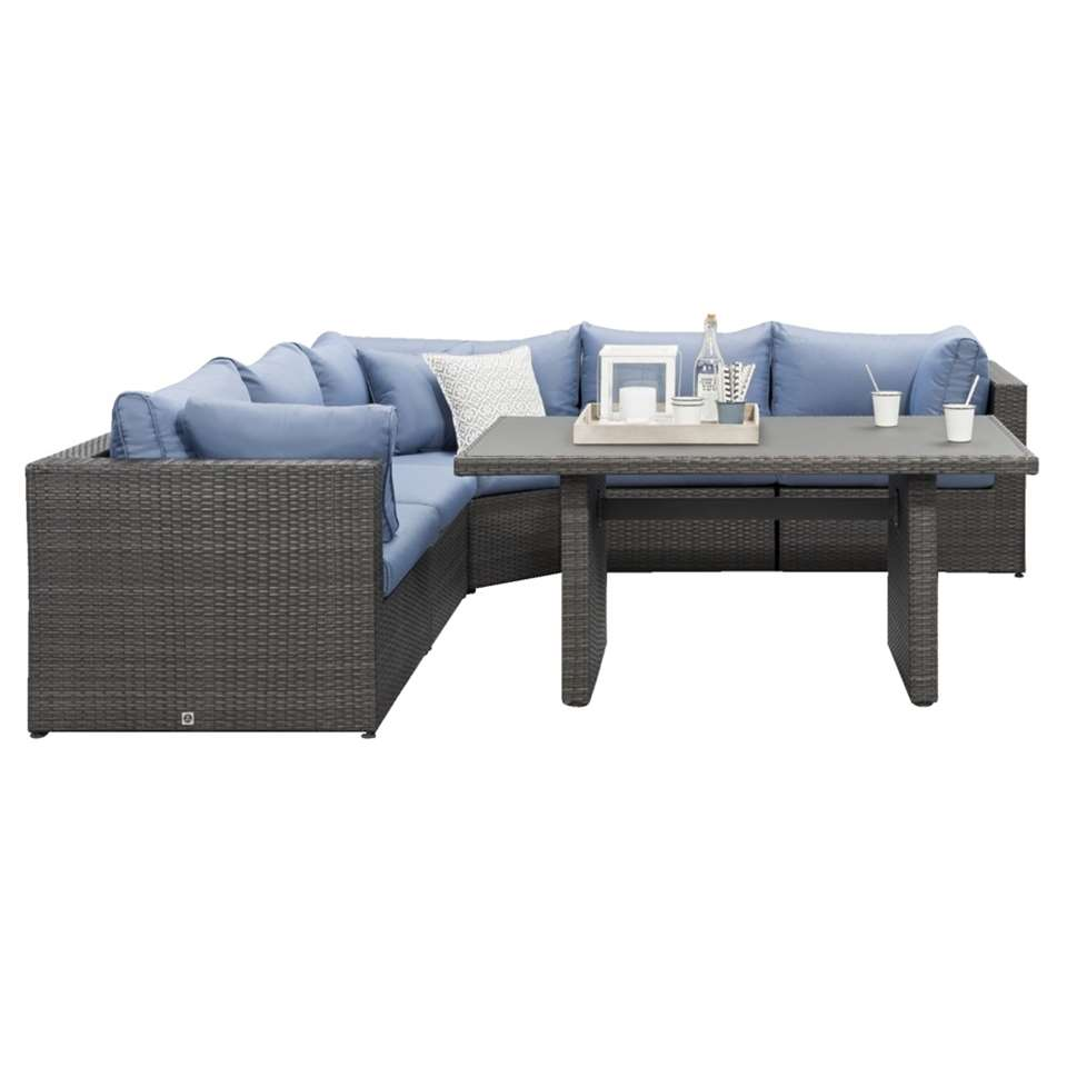Le Sud lounge diningset met hoekbank Ancona - grijs - 6-delig - Leen Bakker