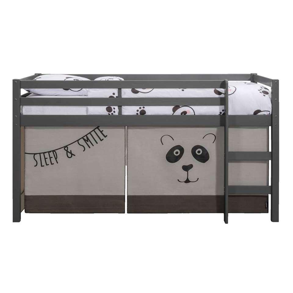 Halfhoogslaper Ties (incl. bedtent Panda) - grijs - 112x208x103 cm - Leen Bakker