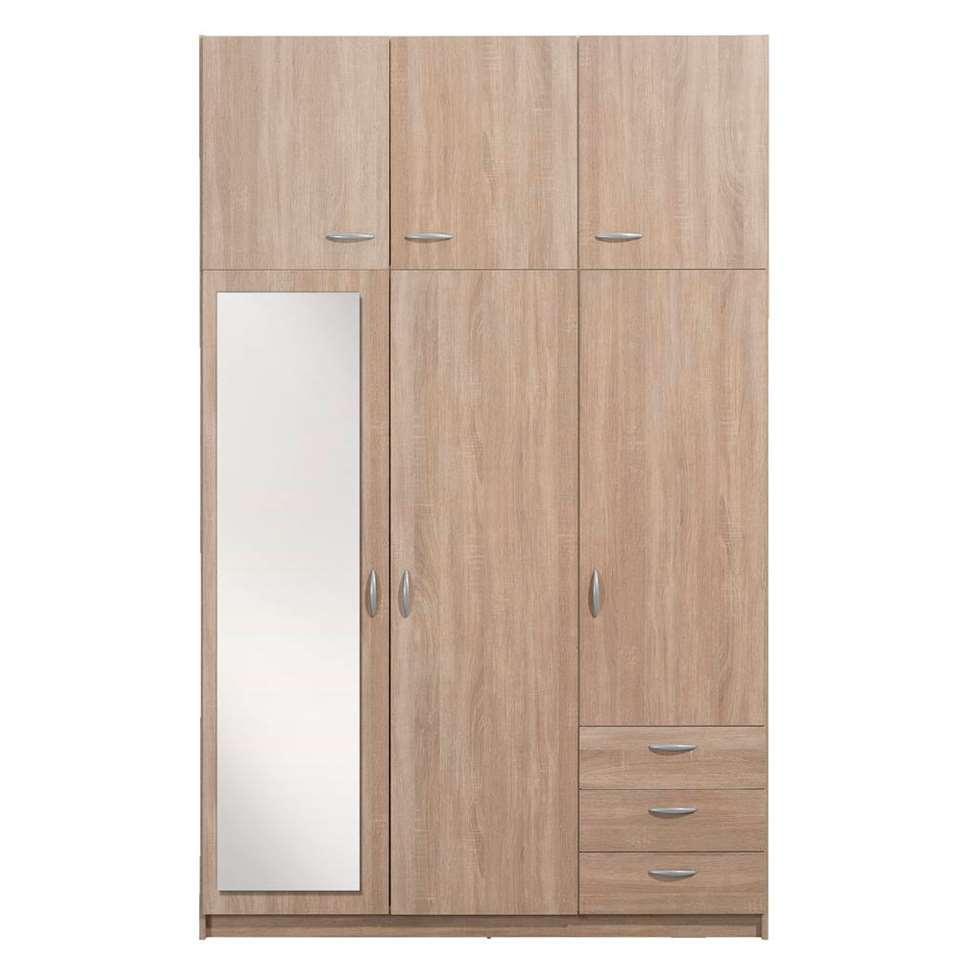 Kledingkast Varia 3-deurs (incl. spiegel + opzetkast) - eikenkleur - 231x146x50 cm - Leen Bakker