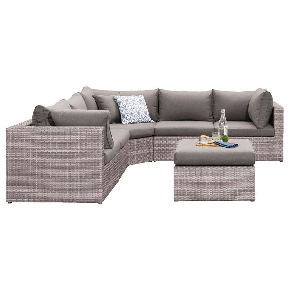 Le Sud loungeset met hoekbank Ancona V5 - lichtgrijs - 6-delig - Leen Bakker
