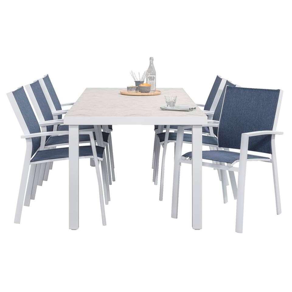 Le Sud tuinset Toulon stapelstoel – blauw/wit – 7-delig – Leen Bakker
