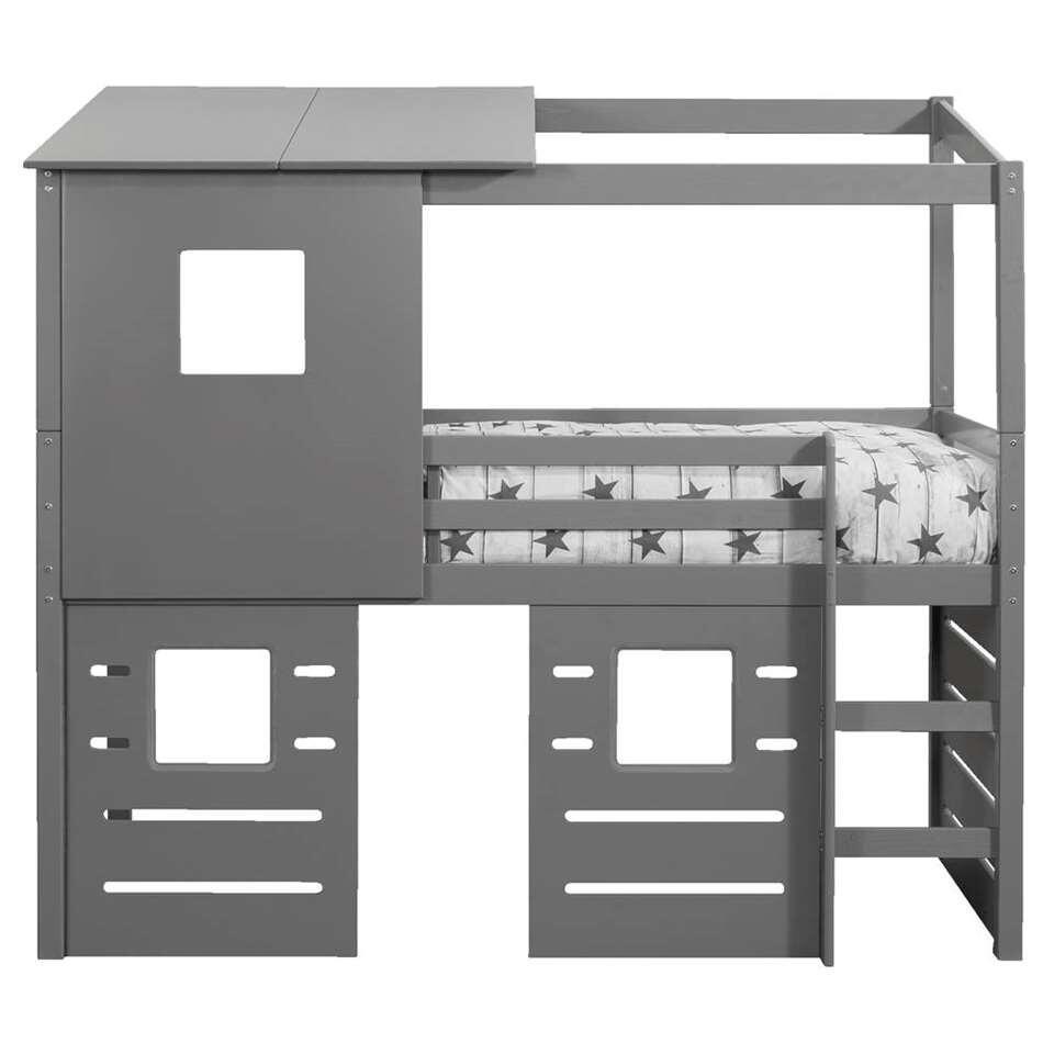 Halfhoogslaper Ties (incl. opzetdak en 3 hutwanden) – grijs – 90×200 cm – Leen Bakker