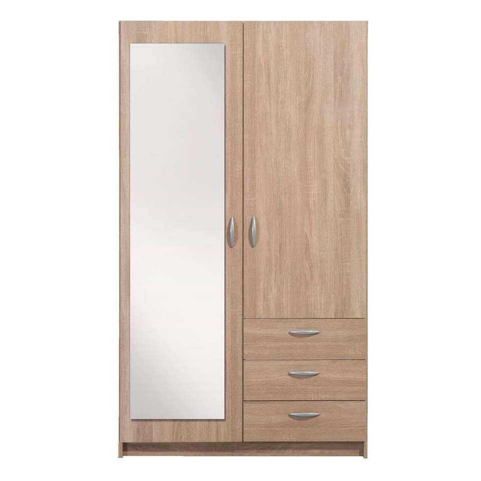 Armoire Varia 2 portes avec miroir - couleur chêne - 175x98,5x49,5 cm