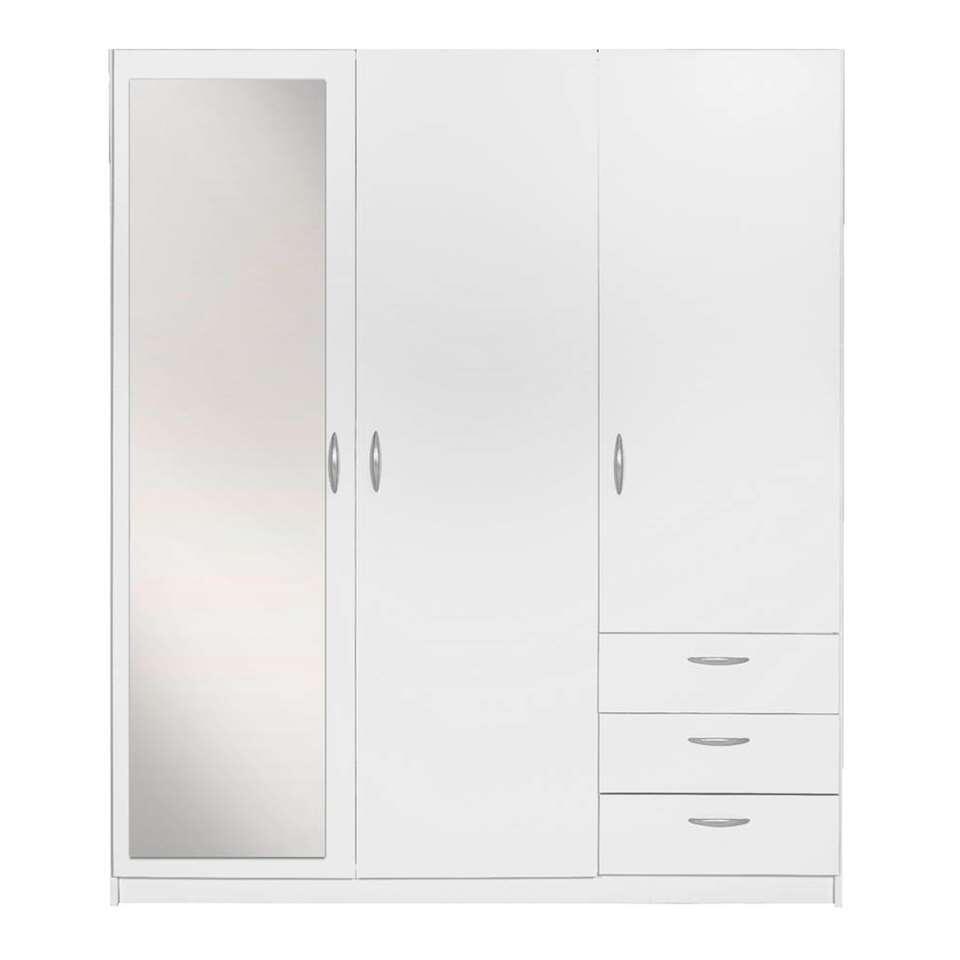 Drie Deurs Linnenkast.Kledingkast Varia 3 Deurs Inclusief Spiegel Wit 175x146x50 Cm