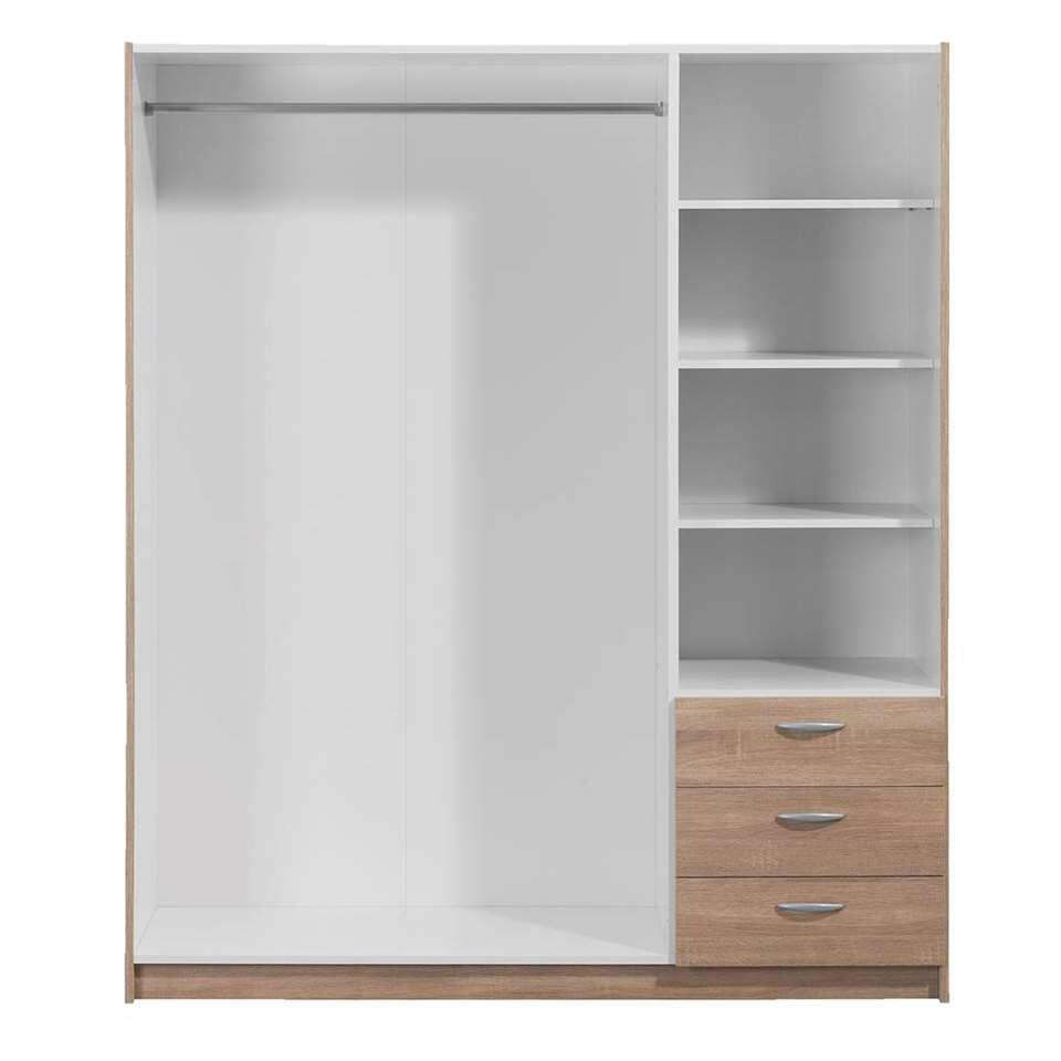 3 Deurs Kledingkast Met Spiegel.Kledingkast Varia 3 Deurs Inclusief Spiegel Eikenkleur 171x146x50 Cm