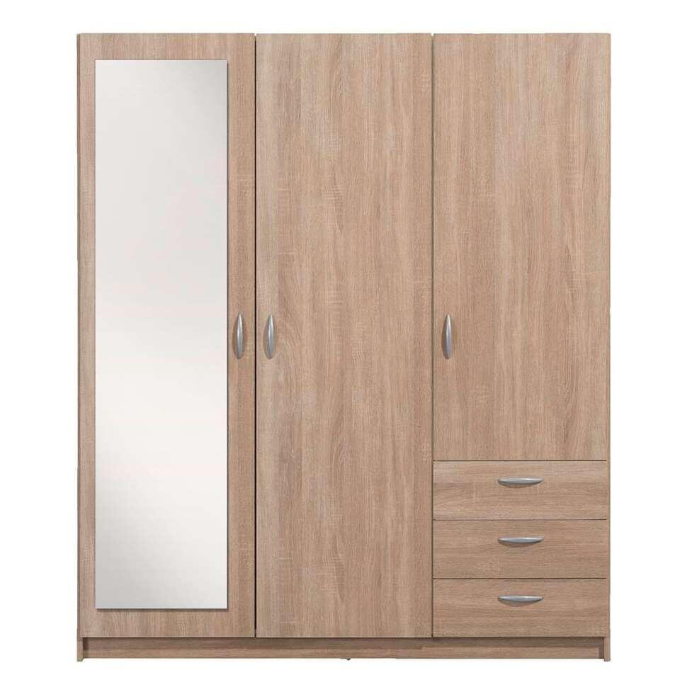 3 Deurs Spiegel Linnenkast.Kledingkast Varia 3 Deurs Inclusief Spiegel Eikenkleur 171x146x50 Cm